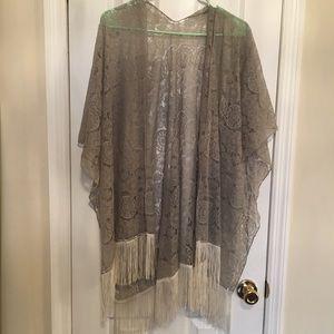 Gray lace bohemian shawl kimono with white fringe